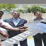 Uber Asia Business Head, Eric Alexander (R), Telangana IT Secretary Jayesh Ranjan (2nd R), Madhu Kannan, Member-Group Executive Council and Head for business development and public affairs, Tata Sons (c) handing over key's to drivers during the announcement of Tata and Uber's new partnership to make it easier for driver to become Micro-Entrepreneurs in Hyderabad