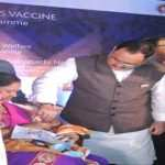 Union Minister for Health and Family Welfare J P Nadda (C) administering the first dose of Rotavirus vaccine to a girl child at the launch of the Pilot Rotavirus Universal Immunization program, at Bhubaneswar, in Odisha on Saturday. Minister of State for Petroleum and Natural Gas (I/C) Dharmendra Pradhan is also seen