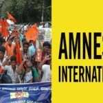 ABVP activists staging a protest rally against Amnesty International India, in Bengaluru. Photo: UNI