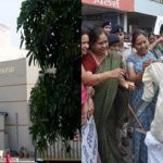 (Left) Vyapam Building. (Right) Members of All India Mahila Congress burning MP CM Shivraj Singh Chouhan's effigy at a demonstration in Bhopal. Photo: UNI