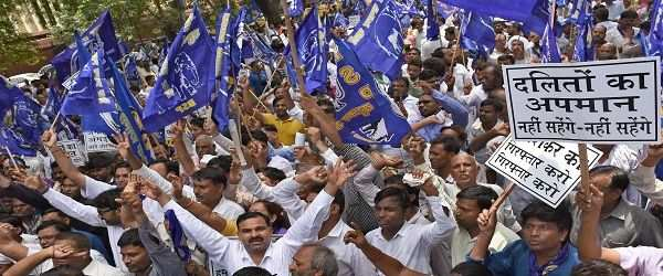 BSP activists protesting against the derogatory remarks made by BJP leader Dayashankar Singh. Photo: UNI