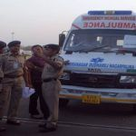 AHMEDABAD, APR 23 (UNI)- An ambulance taking the bodies of Nepal bus accident victims in Ahmedabad on Thursday. 17 pilgrims died in as a bus of Gujarti pilgrims fell off road near Kathmandu on their way back to home after prayers in vrious temple in Nepal on Wednesday morning. UNI PHOTO-104u