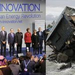 (L-R) The Prime Minister, Narendra Modi with the President of USA, Barack Obama, the President of France, Francois Hollande, the President of Brazil, Dilma Rousseff, Bill Gates and other dignitaries, at the Innovation Summit in COP 21, in Paris on November 30, 2015. Photo: PIB; a typhoon in Manila, Philippines. Photo: UNI