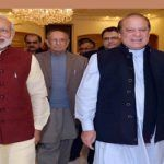 Prime Minister Narendra Modi (L) meeting the Prime Minister of Pakistan, Nawaz Sharif, at Lahore, Pakistan