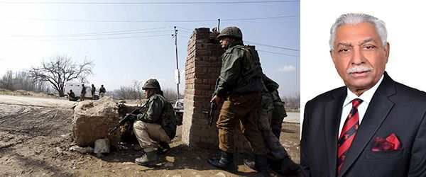 (L-R) Soldiers of the Indian Army take their positions near the site of a gun battle between the Indian security forces and militants on the outskirts of Srinagar (Photo: UNI); Lt Gen Vijay Oberoi