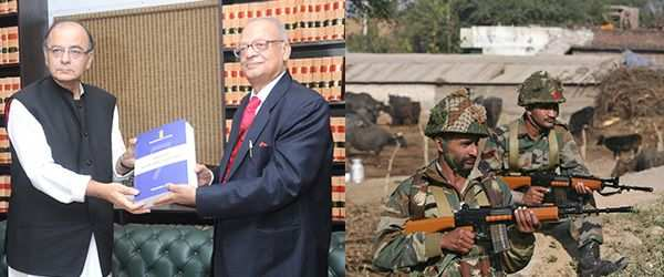 (L-R) The Chairman of the Seventh Pay Commission, Justice AK Mathur submitting report to the Union Minister for Finance, Corporate Affairs and Information and Broadcasting, Arun Jaitley on November 19, 2015. Photo: PIB; Soldiers manning the Air Force base at Pathankot, which came under terrorist attack in early January this year. Photo: UNI