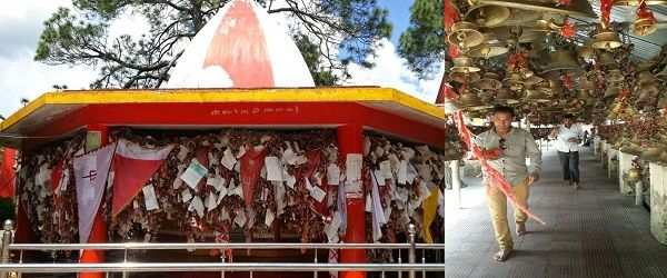 (L-R) The precincts of the Golu Devta Temple; Bells tied by devotees whose wishes were fulfilled