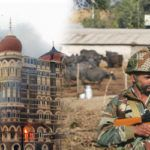 (L-R) The Taj Hotel up in flames after the 2008 Mumbai terrorist attacks; Soldiers guard near the Indian Air Force base at Pathankot in January this year, after an attack on it. Photo: UNI