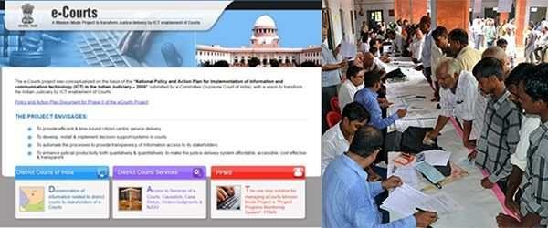 (L-R) A screenshot of the website of e-courts; Litigants at the National Lok Adalat organized by the district legal services authority in Mirzapur, UP. Photo: UNI