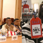 (L-R) The Union Minister for Finance and Corporate Affairs, Arun Jaitley briefing the media after the conclusion of the 3rd meeting of the GST Council on October 19, 2016. Photo: PIB; A shopper browses sale items during the Boxing Day sales at a Selfridges store in London. Photo: UNI