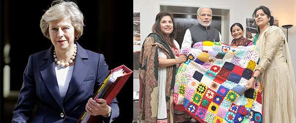 (L-R) UK PM Theresa May; a group of Indian women in the UK presenting a crochet blanket to Prime Minister Narendra Modi. Photos: UNI