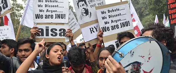 Protests by students of JNU have been dubbed as seditious and anti-national. Photo: UNI