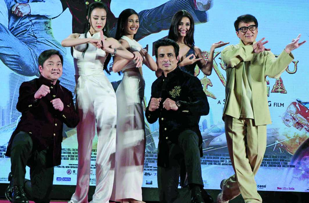 Hollywood actor Jackie Chan promoting his film Kung Fu Yoga along with Bollywood star cast in Mumbai,photo: UNI