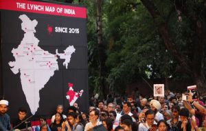 A lynch map on the stage highlighted the states where mob lynchings have taken place since 2015. Photo: Anil Shakya