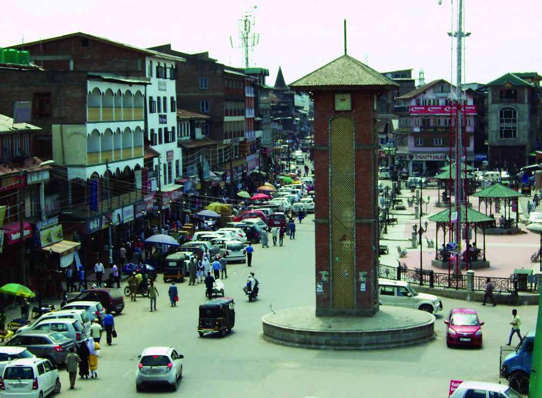Lal Chowk in Srinagar came under terrorist attack in 1993, when they destroyed a shopping mall here. Photo: UNI