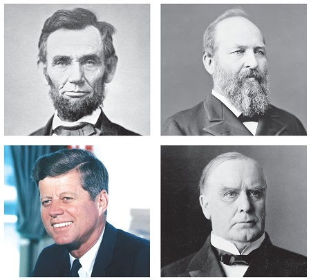 (Clockwise from top left) Abraham Lincoln, James Garfield, William McKinley and JFK are US presidents who were assassinated