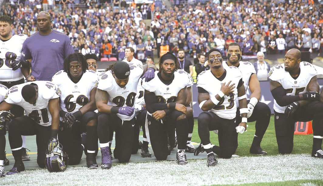 One of the National Football League's take-a-knee protests against Trump's statement on police brutality perpetrated on black people
