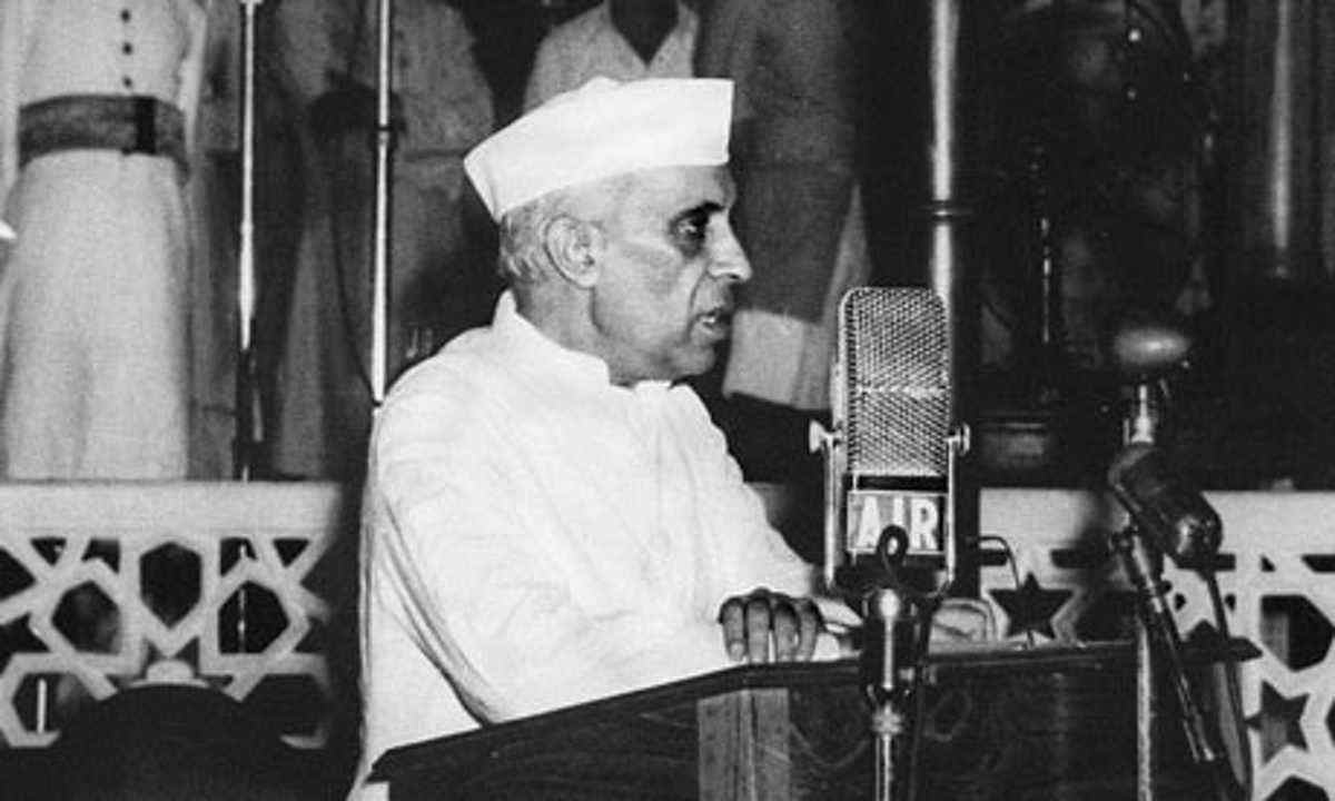 India's first prime minister Jawaharlal Nehru makes a speech in Parliament. Photo: Wikimedia