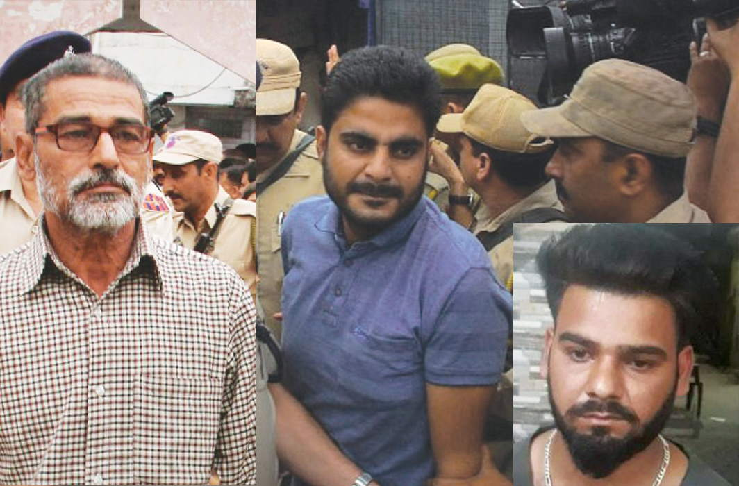 (L-R) The accused in the Kathua rape case, alleged mastermind Sanji Ram; police officer Deepak Khajuria and Ram's son, Vishal Jangotra
