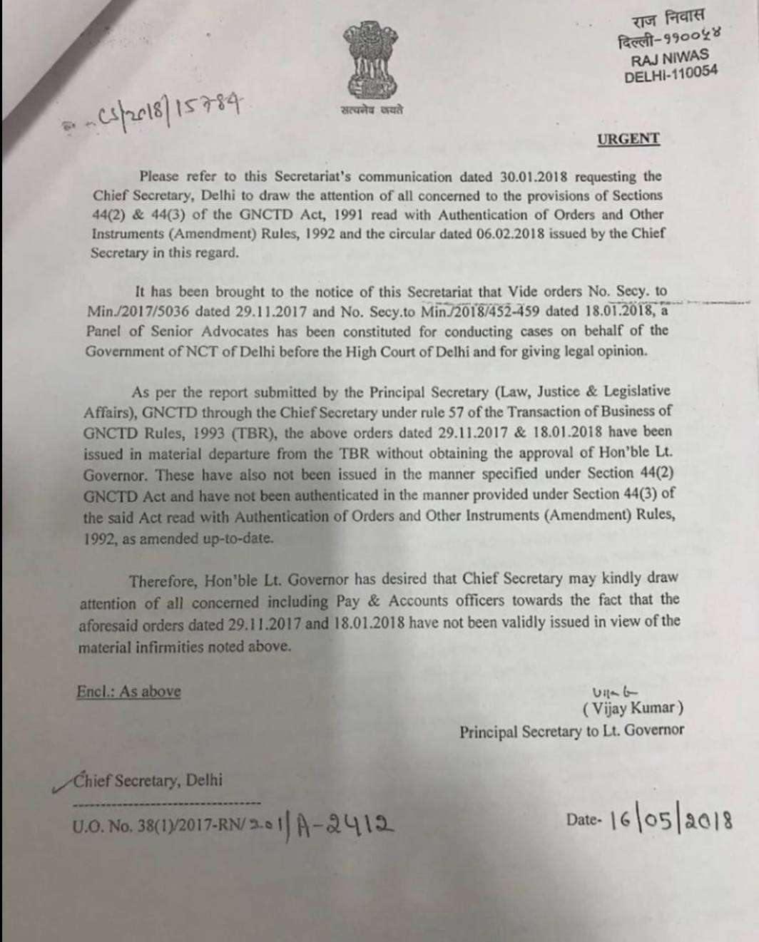 Delhi Lt Governor now objects to government's lawyers' panel