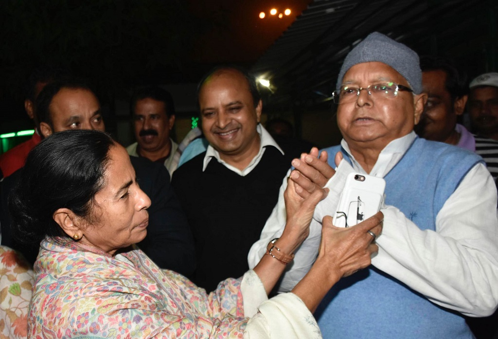 TWO'S COMPANY: West Bengal CM Mamata Banerjee with RJD chief Lalu Prasad Yadav in Patna
