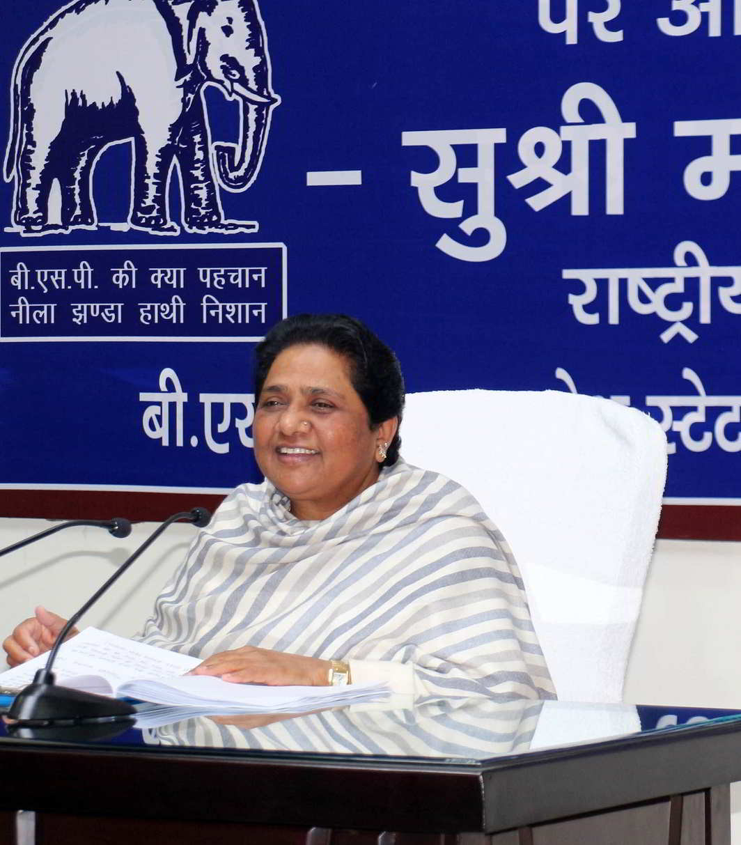 Up for the big battle - Bahujan Samaj Party supremo Mayawati addressing a press conference in Lucknow on Saturday. UNI PHOTO-1U