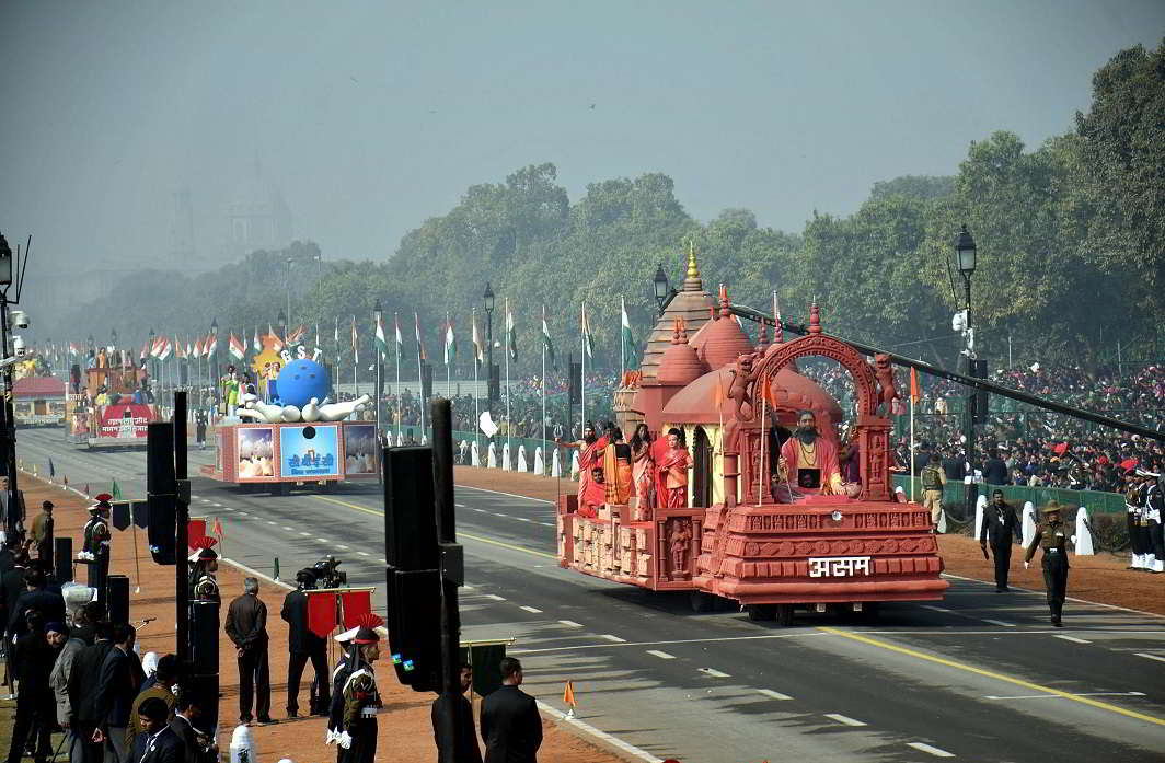 SUBNATIONAL PRIDE: The Assam tableau rolls down Rajpath during the full dress rehearsal of the Republic Day parade, in New Delhi on January 23, UNI