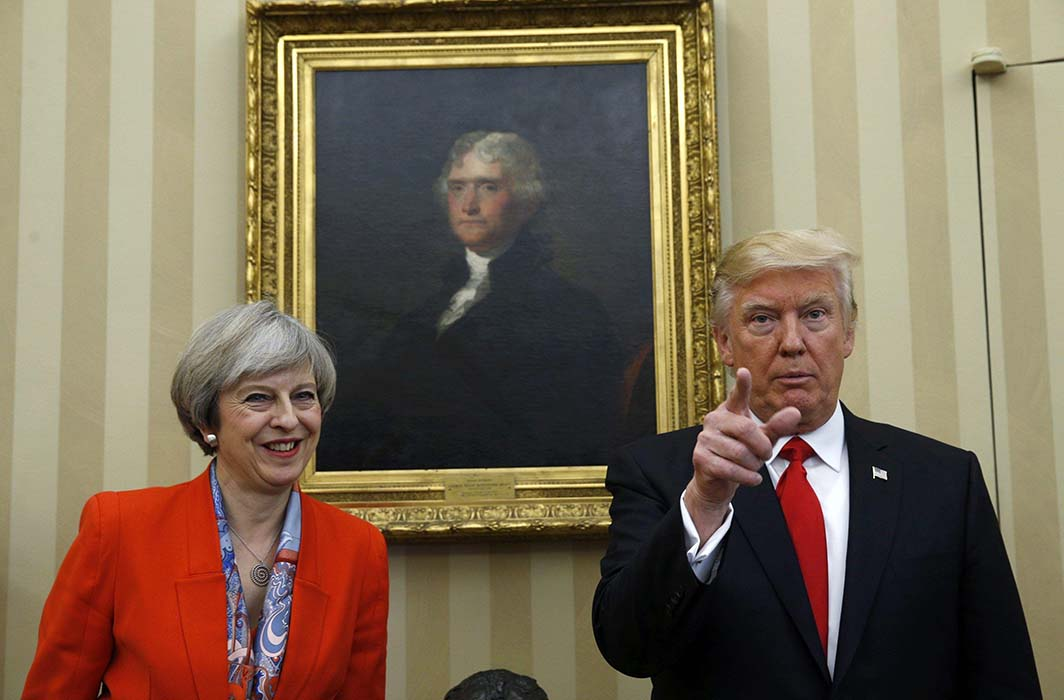 MEETING OF CONSEQUENCE: US President Donald Trump and British Prime Minister Theresa May in the White House Oval Office in Washington, Reuters/UNI