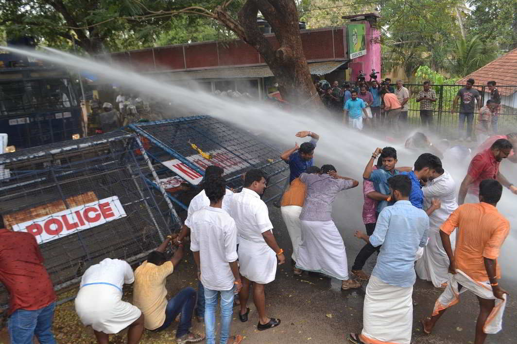 5. The unstoppables- Police use water cannons to stop Yuva Morcha activists staging a march to Kerala CM's residence, demanding detailed enquiry in the Thrissur Nehru College student's suicide case, in Thiruvananthapuram on Saturday. UNI PHOTO-7U