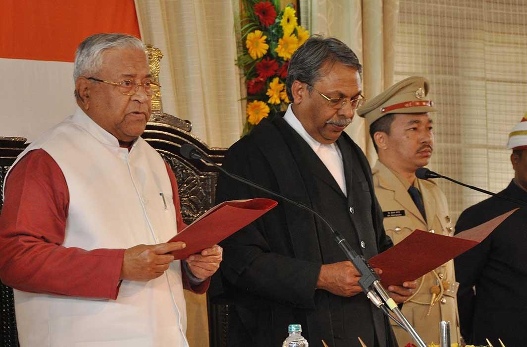 I SWEAR: Nagaland Governor Padmanabha Balkrishna Acharya takes oath as the 23rd Governor of Arunachal Pradesh administered by Chief Justice, Guwahati High Court, at Raj Bhavan in Itanagar, UNI