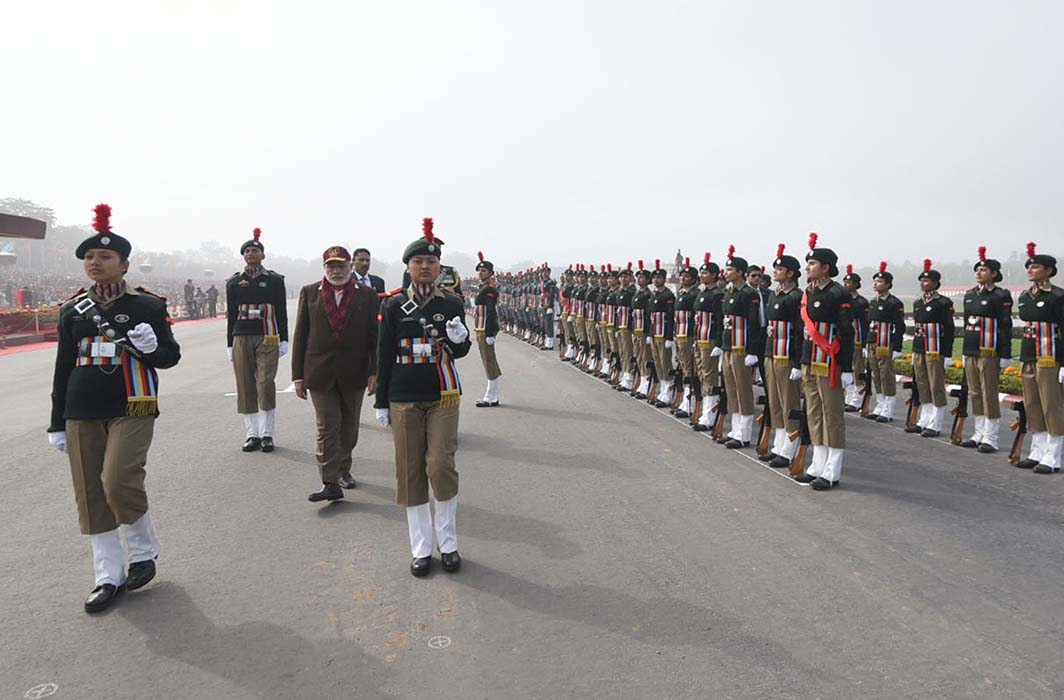 ATTENTION: Prime Minister, Narendra Modi inspects the guard of honour, during the Prime Minister's NCC Rally, in New Delhi, UNI