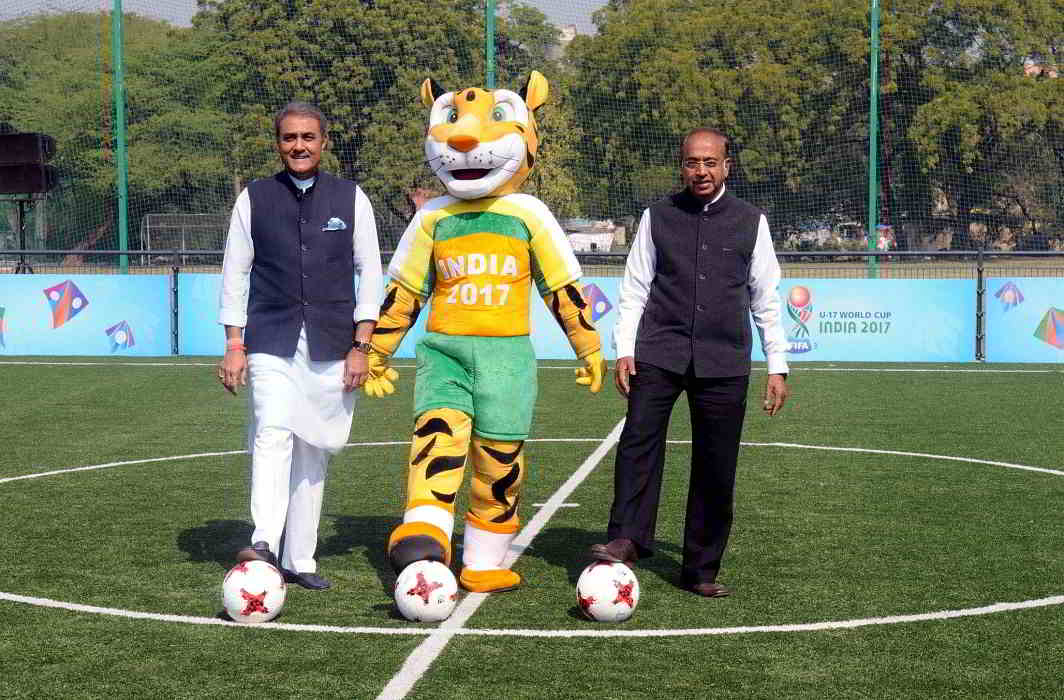 ON THE BALL, LOL: Minister of state for youth affairs and sports, water resources, river development and Ganga rejuvenation Vijay Goel and president of AIFF Praful Patel at the launch of Mission XI Million, the biggest school sport outreach programme, in New Delhi on February 10, UNI