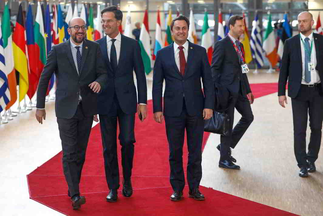 MEN OF POWER: (L-R) Belgium's Prime Minister Charles Michel, Netherlands Prime Minister Mark Rutte and Luxembourg's Prime Minister Xavier Bettel arrive together at a European Union leaders summit in Brussels, Reuters/UNI