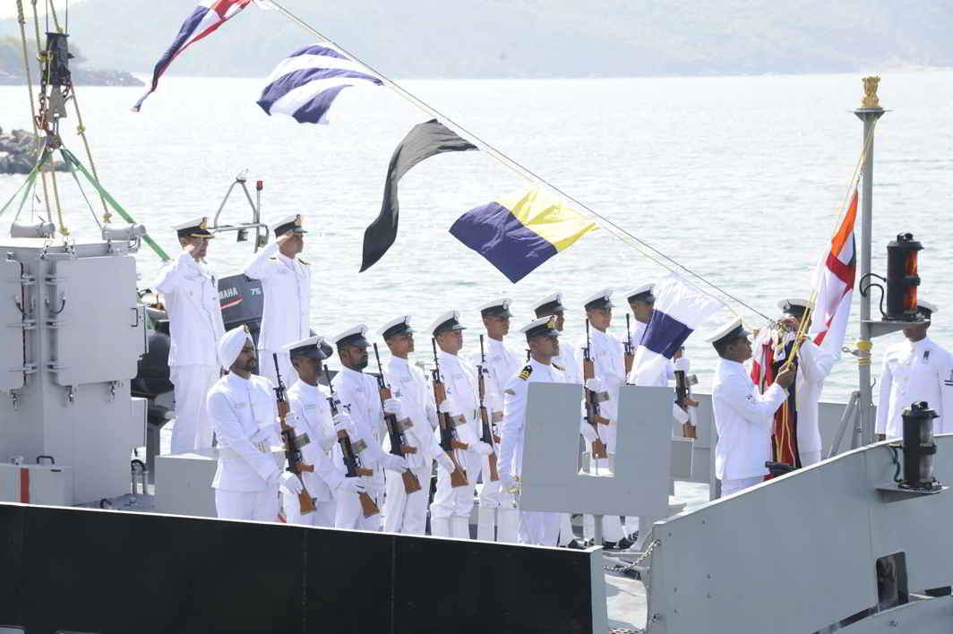 DAY ONE: INS Tillanchang, a Water Jet Fast Attack Craft, being commissioned into the Indian Navy by Vice Admiral Girish Luthra, the Flag Officer Commanding-in-Chief Western Naval Command, at Karwar, UNI