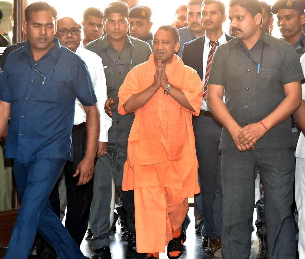 WILL HE WALK THE TALK? And will that be entirely beneficial for the state? CM Adityanath Yogi arrives for a meeting with police officers in Lucknow on March 20