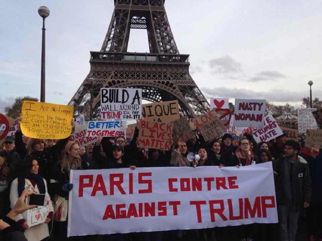 Paris protests against Donald Trump