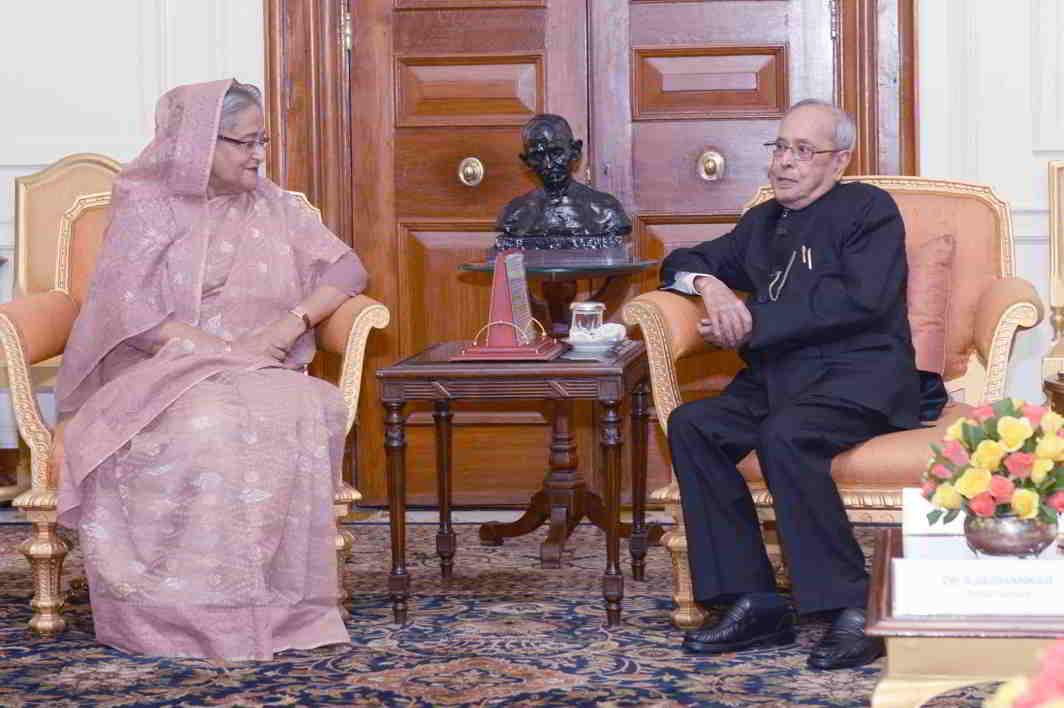 SPEAKING THE SAME LANGUAGE? Sheikh Hasina, Prime Minister of Bangladesh, calls on the President of India, Pranab Mukherjee, at Rashtrapati Bhavan, UNI