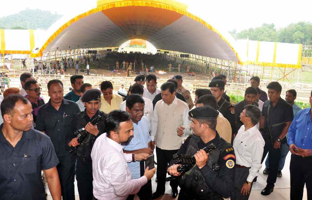 PREPARING THE GROUNDS: Assam Chief Minister Sarbananda Sanowal along with senior officials inspects the venue where Prime Minister Narendra Modi will address a public rally on May 26, in Guwahati, UNI