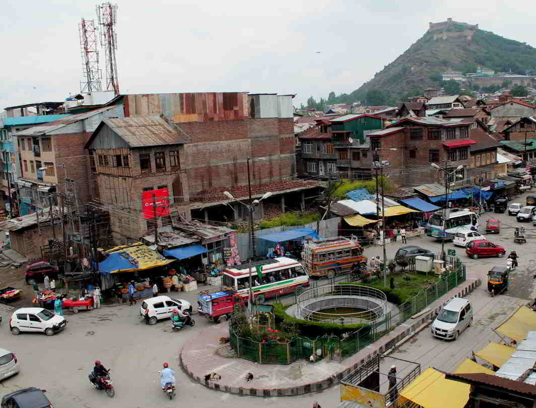BACK TO NORMAL: Aerial view of Nowhatta Chowk, Srinagar, with traffic plying and all shops and business establishments open after remaining closed for two days, UNI