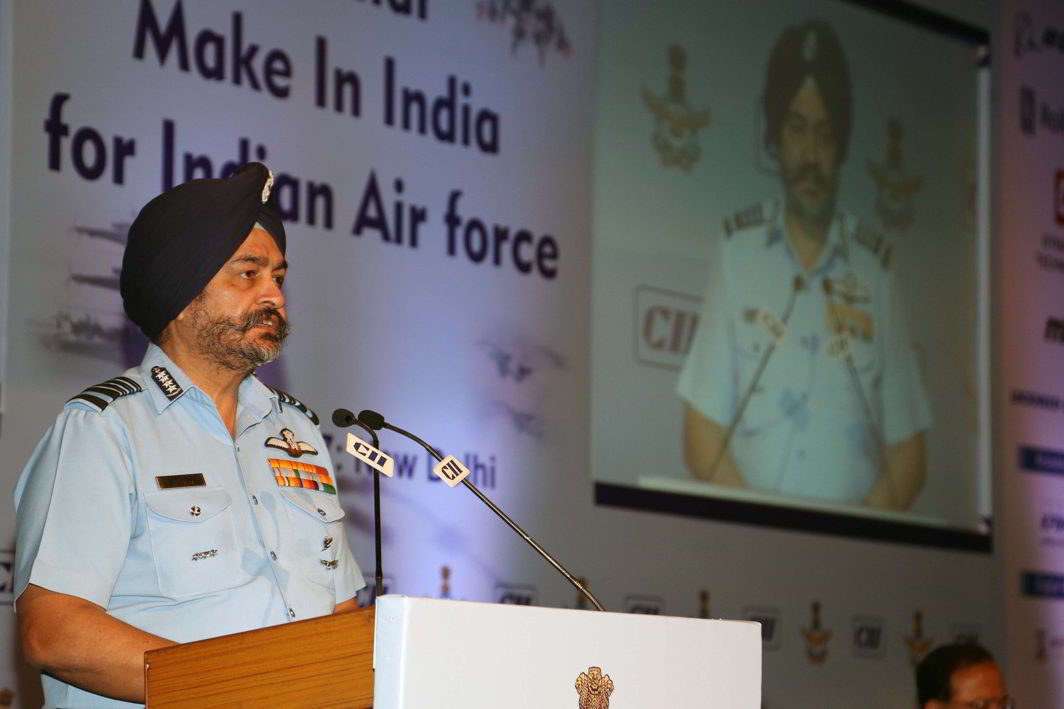 FLY HIGH: Chief of the Air Staff, Air Chief Marshal BS Dhanoa, addresses a seminar, jointly organised by the Indian Air Force and Confederation of Indian Industry in New Delhi, UNI