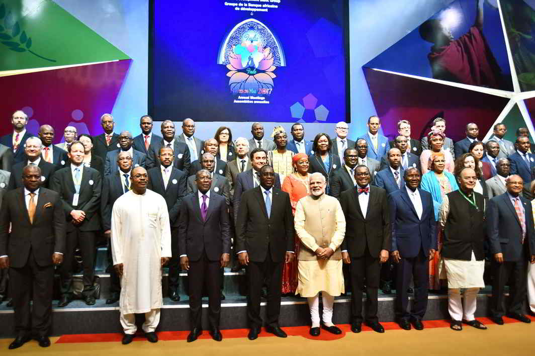 ALL TOGETHER NOW: Prime Minister Narendra Modi with the foreign dignitaries at the 52nd Annual meeting of African Development Bank, in Gandhinagar, Gujarat, UNI