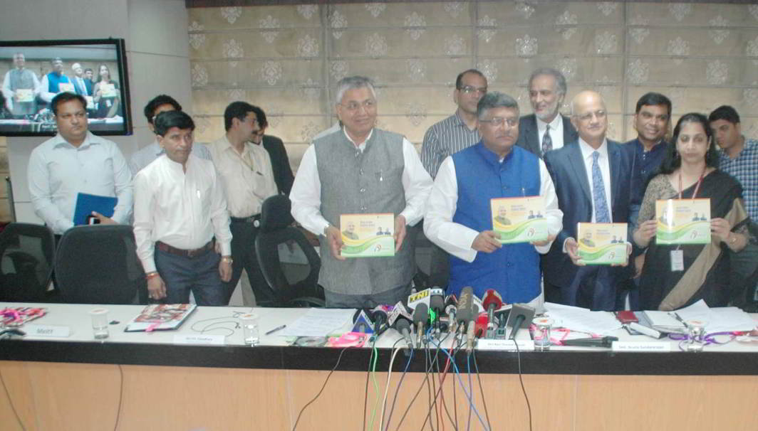 CHRONICLES OF ACCHE DIN: Union Minister for Electronics, Information Technology and Law & Justice Ravi Shankar Prasad releases a booklet on the Key Initiatives of MeitY, at a press conference on the achievements of the ministry during three years of NDA government, in New Delhi, UNI