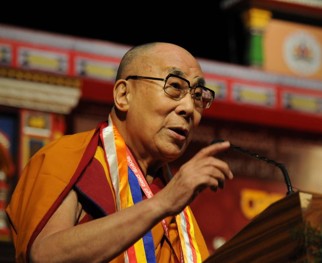 FOR EQUALITY: Tibetan spiritual leader, the Dalai Lama, addresses a state-level seminar on 'Social Justice and Dr BR Ambedkar' as part of Dr Ambedkar's 125th birth anniversary in Bengaluru, UNI