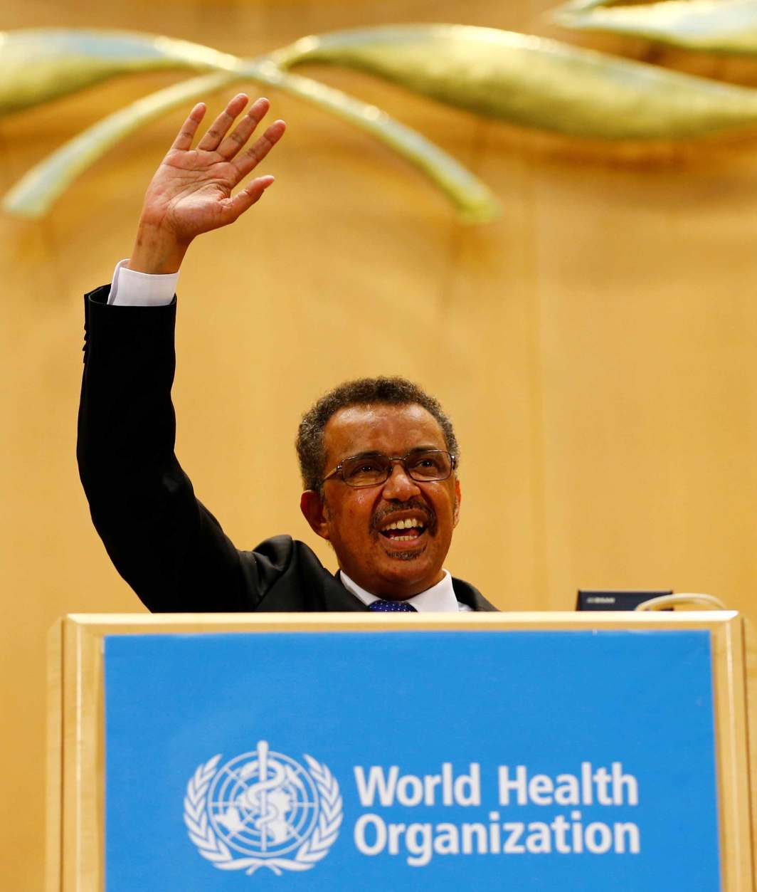FOR A HEALTHIER WORLD: Newly-elected director general of the World Health Organization, Tedros Adhanom Ghebreyesus, waves after his speech during the 70th World Health Assembly in Geneva, Reuters/UNI