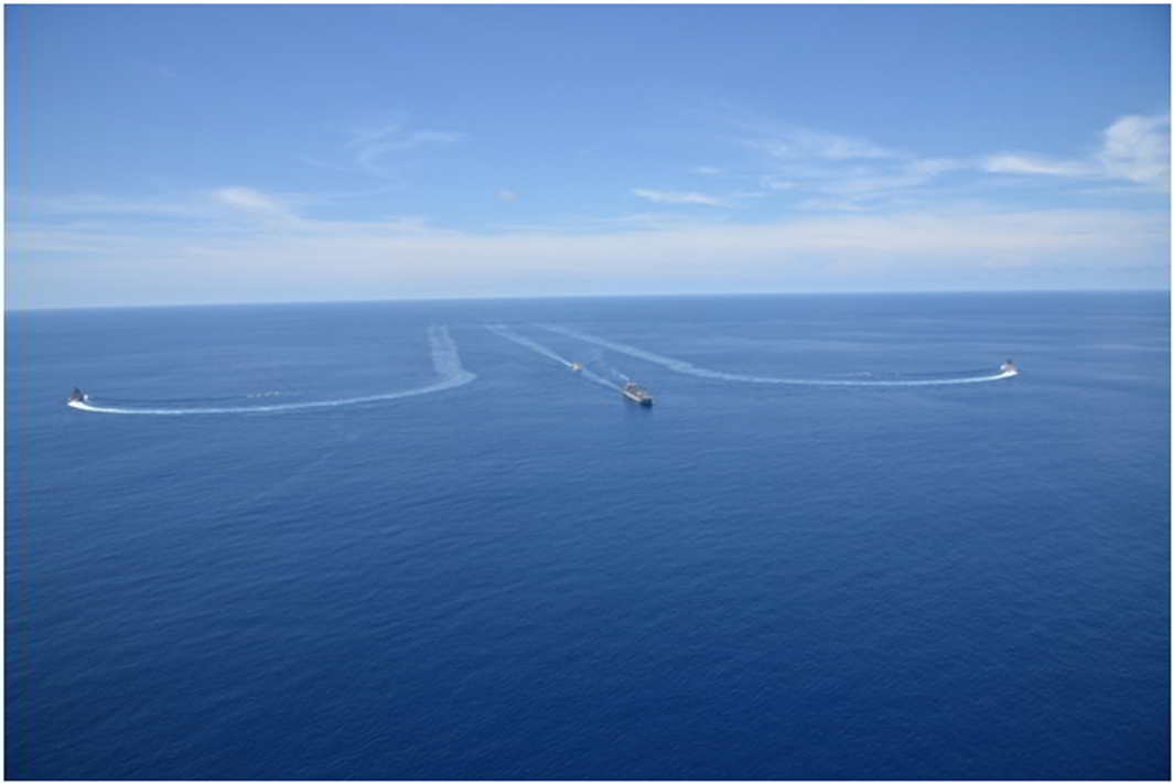 CONQUERING THE DEEP: Indian Naval Ships Shivalik, Sahyadri, Jyoti and Kamorta of the Eastern Fleet, manoeuvring in Andaman Sea, UNI