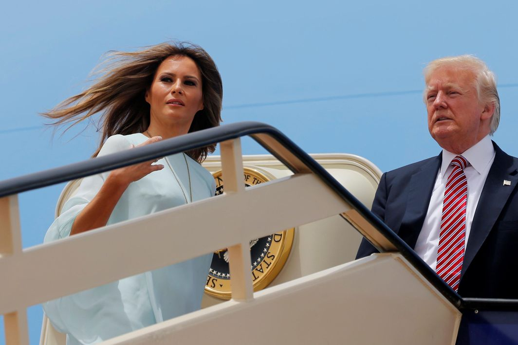 POWER COUPLE: US president Donald Trump and first lady Melania Trump board Air Force One to depart for Israel from King Khalid International Airport in Riyadh, Reuters/UNI