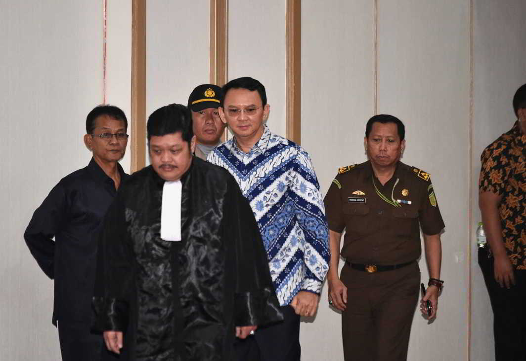 GUILTY OF BLASPHEMY: Jakarta's first non-Muslim governor Basuki Tjahaja Purnama, also known as Ahok, arrives in court for his verdict, Reuters/UNI