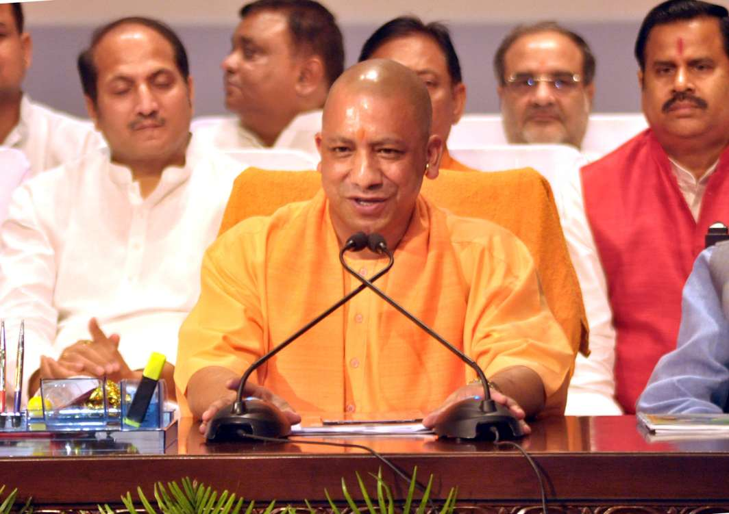 HERE I AM: Uttar Pradesh Chief Minister Yogi Aditiyanath addresses a press conference upon completion of a hundred days in office, in Lucknow, UNI