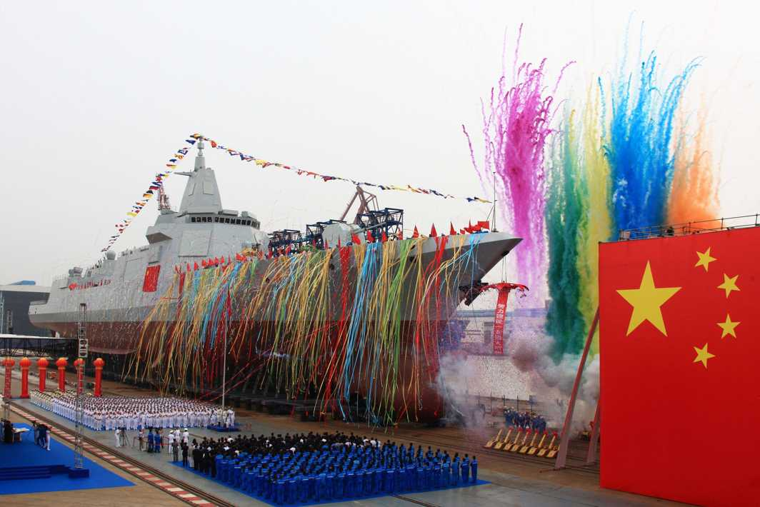 COLOURFUL LAUNCH: China's new type of domestically-built destroyer, a 10,000-tonne warship, is seen during its launching ceremony at the Jiangnan Shipyard in Shanghai, China, Reuters/UNI