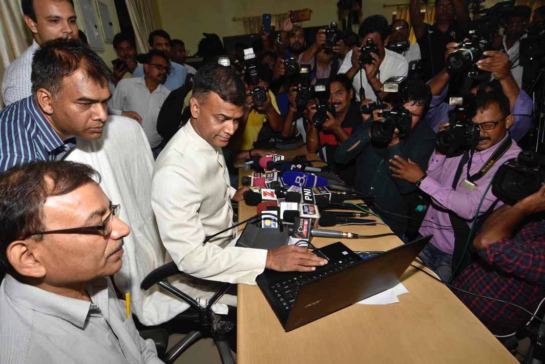 REVEALER OF DESTINIES: Bihar School Examination Board chairman Anand Kishor releases Class X results in Patna, UNI